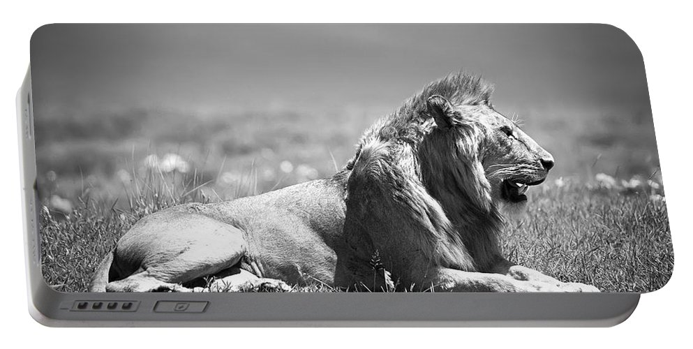 Africa Portable Battery Charger featuring the photograph Pride In Black And White by Sebastian Musial