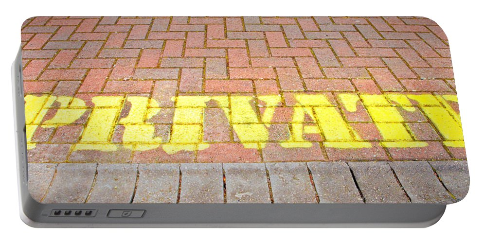 Bricks Portable Battery Charger featuring the photograph Private Sign by Tom Gowanlock