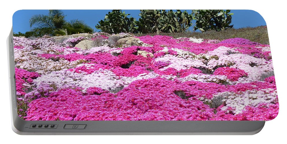 California Portable Battery Charger featuring the photograph Profusion Of Pink by Carla Parris