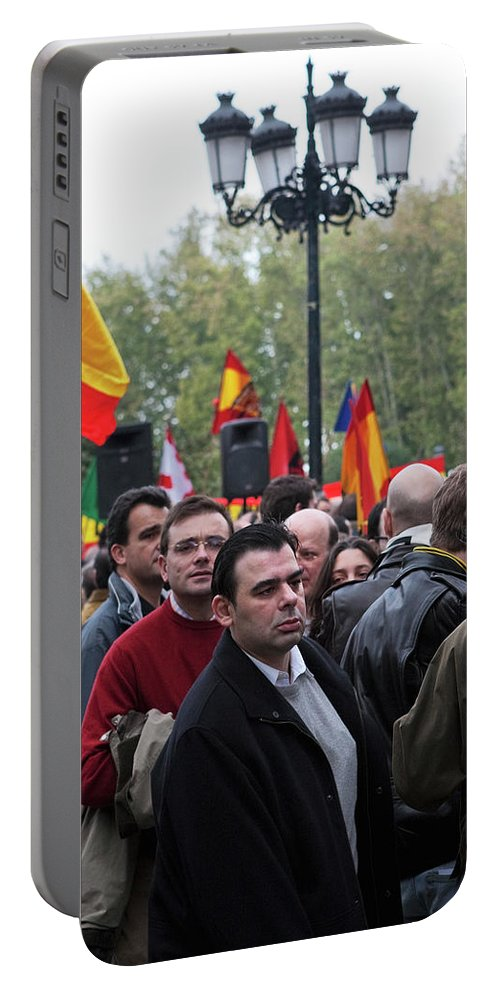 Madrid Portable Battery Charger featuring the photograph Protest In The Plaza by Lorraine Devon Wilke