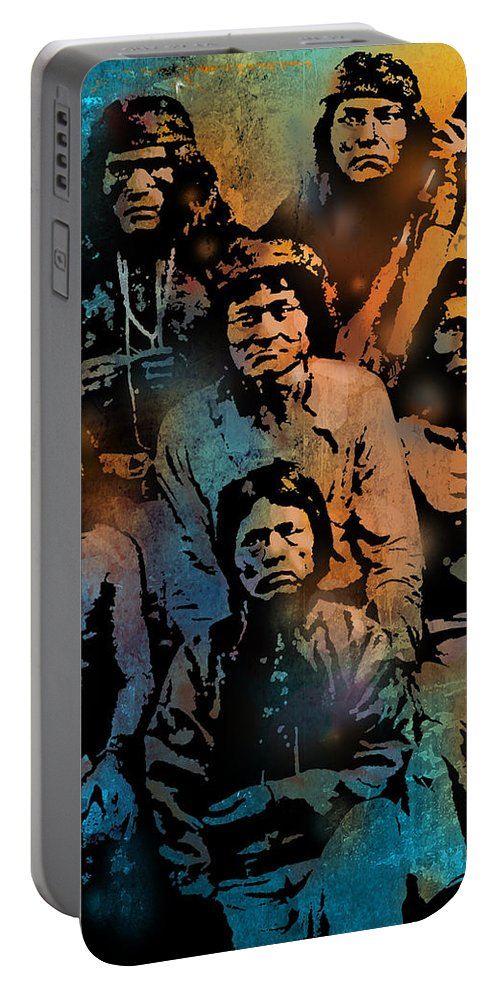 Native Americans Portable Battery Charger featuring the painting Proud Apache Scouts by Paul Sachtleben