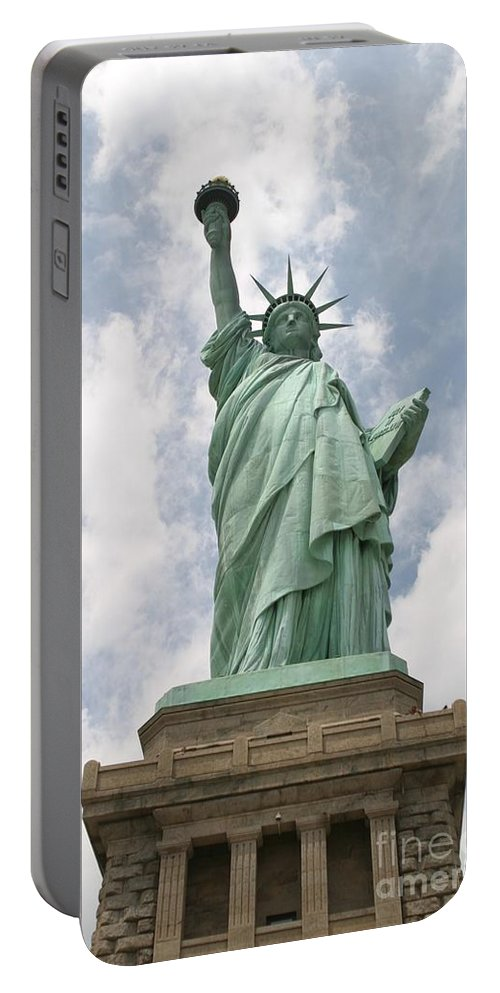Statue Of Liberty Portable Battery Charger featuring the photograph Proudly She Stands by Living Color Photography Lorraine Lynch