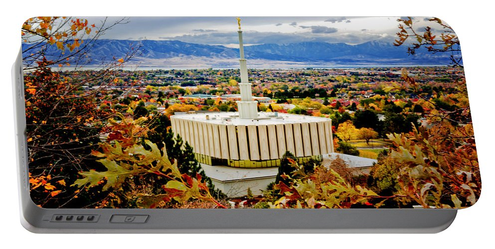 Provo Temple Portable Battery Charger featuring the photograph Provo Temple Oak by La Rae Roberts