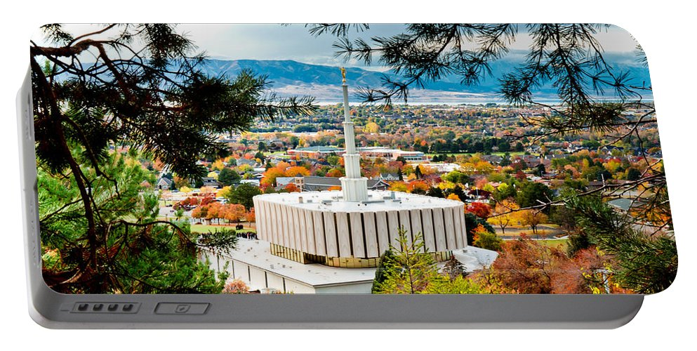 Provo Temple Portable Battery Charger featuring the photograph Provo Temple Pine Frame by La Rae Roberts