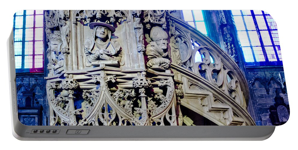 St Stephens Cathedral Vienna Portable Battery Charger featuring the photograph Pulpit St Stephens - Vienna by Jon Berghoff