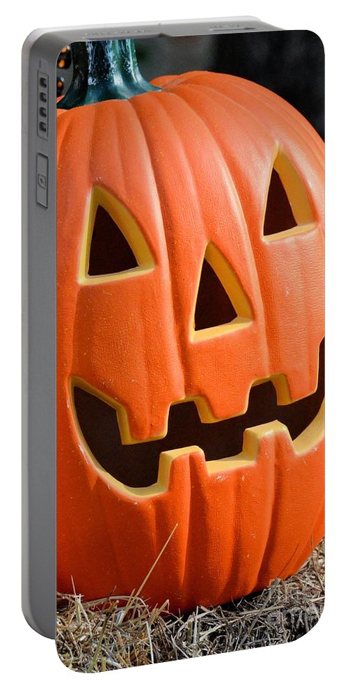 Pumpkin Bright Portable Battery Charger featuring the photograph Pumpkin Bright by Maria Urso
