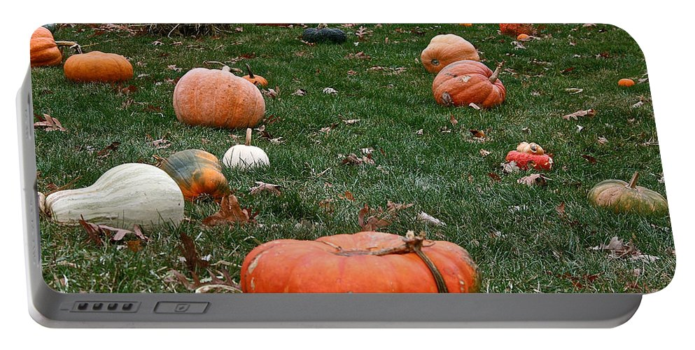 Outdoors Portable Battery Charger featuring the photograph Pumpkin Field by Susan Herber