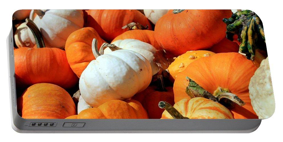 Pumpkin Portable Battery Charger featuring the photograph Pumpkin Harvest by Betty Northcutt