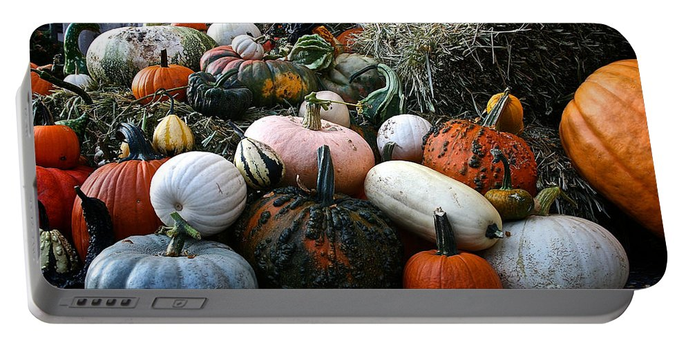 Outdoors Portable Battery Charger featuring the photograph Pumpkin Piles by Susan Herber