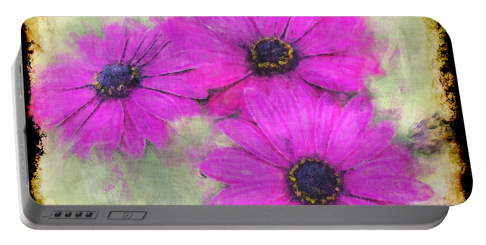 Nature Portable Battery Charger featuring the digital art Purple Daisy Trio II by Debbie Portwood