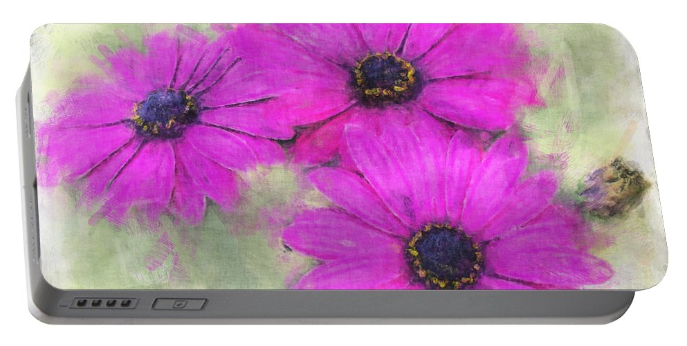 Nature Portable Battery Charger featuring the digital art Purple Daisy Trio Watercolor Photoart by Debbie Portwood