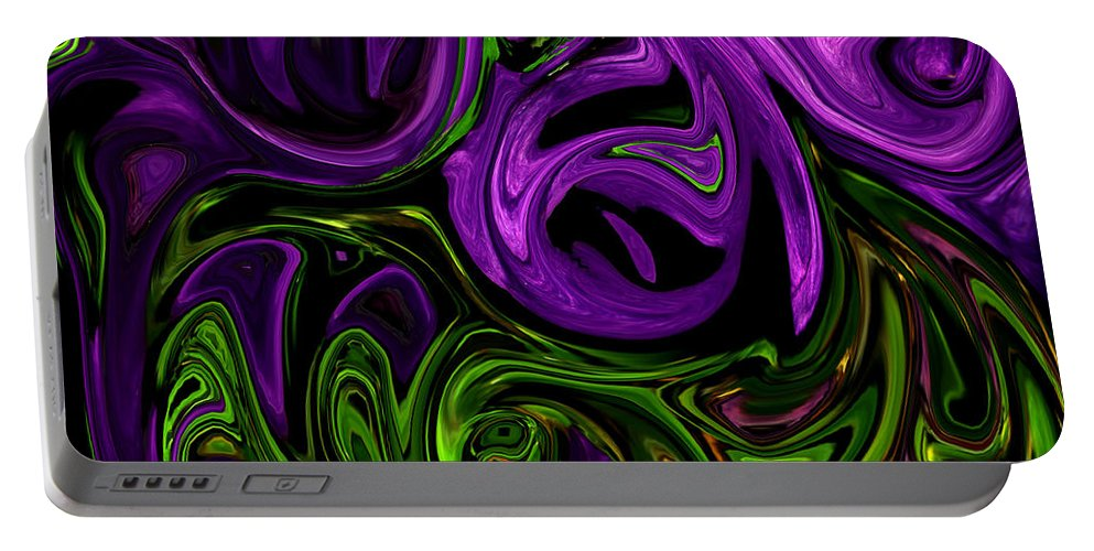 Abstract Portable Battery Charger featuring the photograph Purple Transformation by Karen Harrison