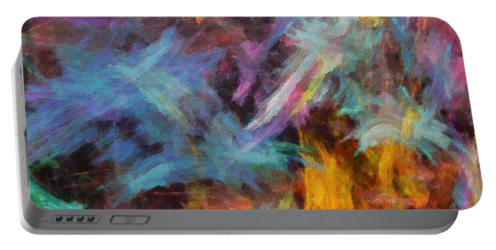 Abstract Portable Battery Charger featuring the digital art Quadra-04 by RochVanh