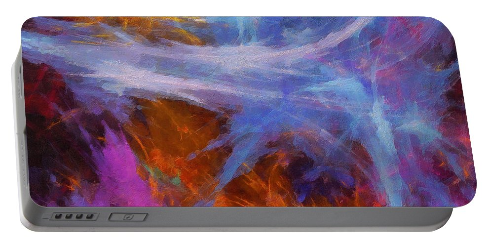 Sculptured Artwork Portable Battery Charger featuring the digital art Quadra-06 by RochVanh