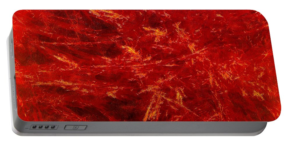 Abstract Digital Arts Portable Battery Charger featuring the digital art Quadra-18-red by RochVanh