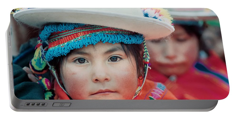 Girl Portable Battery Charger featuring the photograph Quechua Girl Amarete Of The Population. Republic Of Bolivia. by Eric Bauer