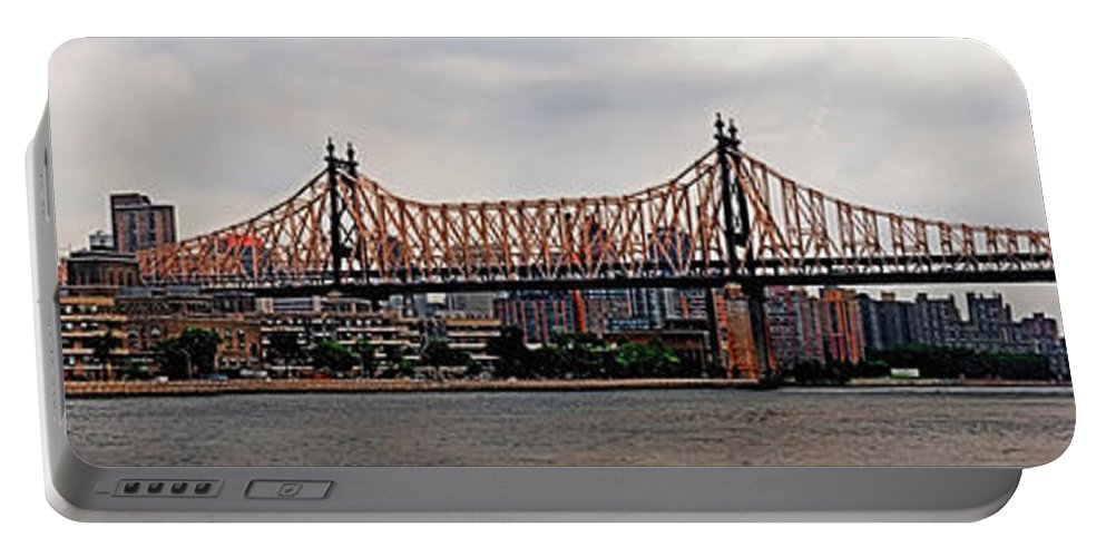 Panoramic Portable Battery Charger featuring the photograph Queensboro Bridge by S Paul Sahm