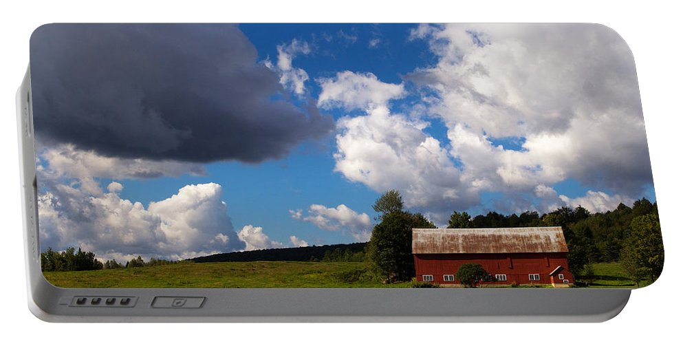 Red Barn Portable Battery Charger featuring the photograph Quintessential Vermont by Stephanie McDowell