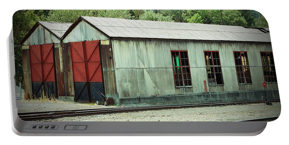 Railroad Portable Battery Charger featuring the photograph Railroad Woodshed 2 by Holly Blunkall