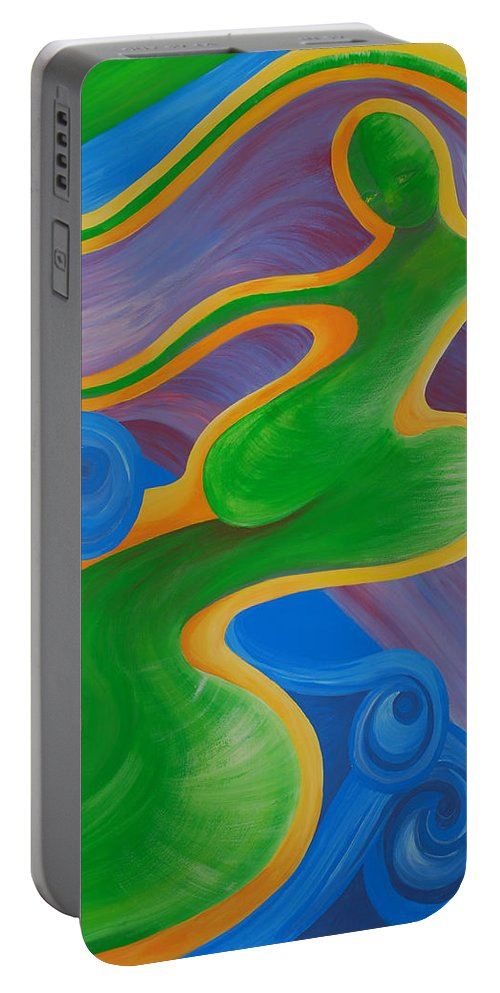 Rainbow Healing Painting.rainbow Healing Portable Battery Charger featuring the painting Rainbow Healing For Family by Catt Kyriacou