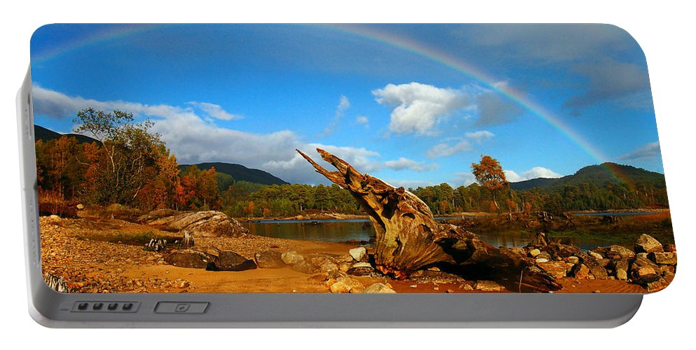 Loch Beinn A'mheadhoin Portable Battery Charger featuring the photograph Rainbow Over Affric by Gavin Macrae