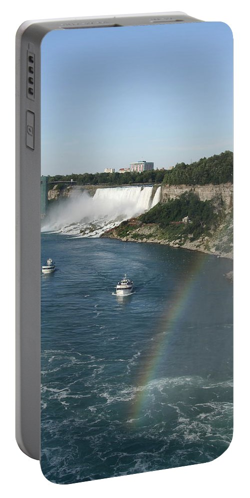Rainbow Portable Battery Charger featuring the photograph Rainbow Over Niagara Fall by Christiane Schulze Art And Photography