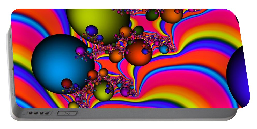 Digital Art Portable Battery Charger featuring the digital art Rainbow Universe by Christy Leigh