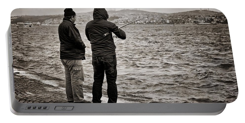 Men Portable Battery Charger featuring the photograph Rainy Day Fishing by Joan Carroll