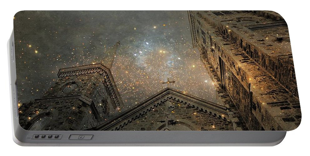 Church Portable Battery Charger featuring the digital art Magical Rattling Sky by Gothicrow Images