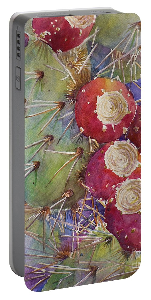 Cactus Portable Battery Charger featuring the painting Ready For Picking by Catalina Rankin