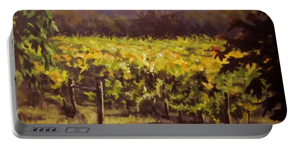 Vineyard Portable Battery Charger featuring the painting Ready To Harvest by Karen Ilari