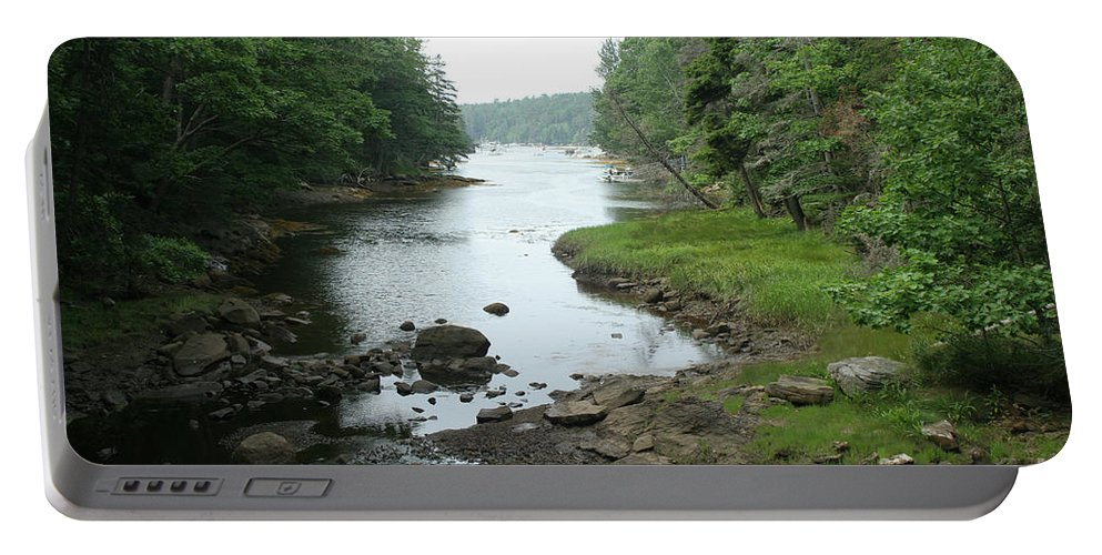 Tide Portable Battery Charger featuring the photograph Receding Tide In Maine Part Of A Series by Ted Kinsman