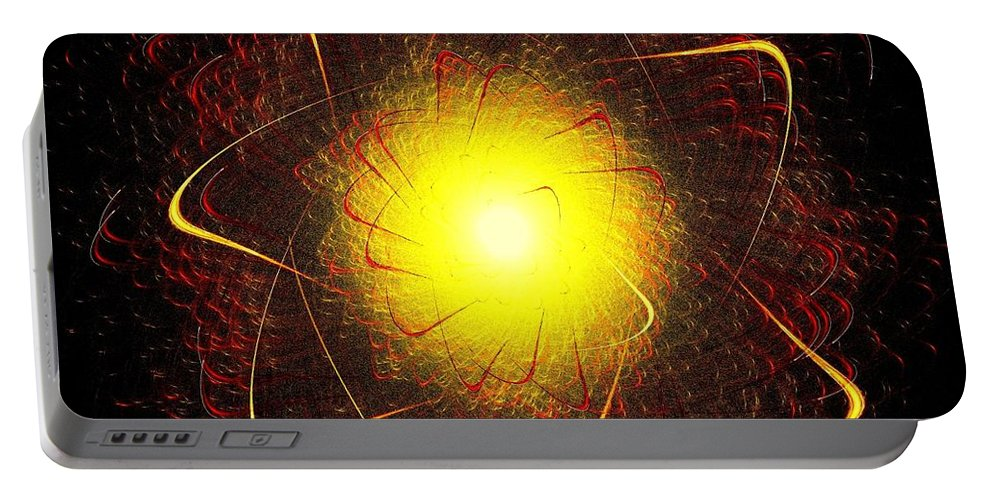 Red Portable Battery Charger featuring the digital art Red And Yellow Star by Klara Acel