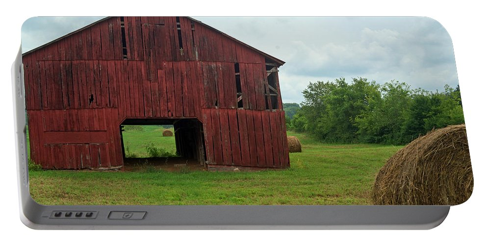 Barn Portable Battery Charger featuring the photograph Red Barn And Hay Bales 3 by Douglas Barnett