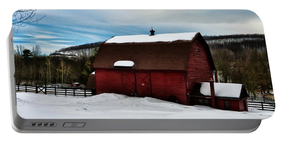 Red Barn In The Snow Portable Battery Charger featuring the photograph Red Barn In The Snow by Bill Cannon