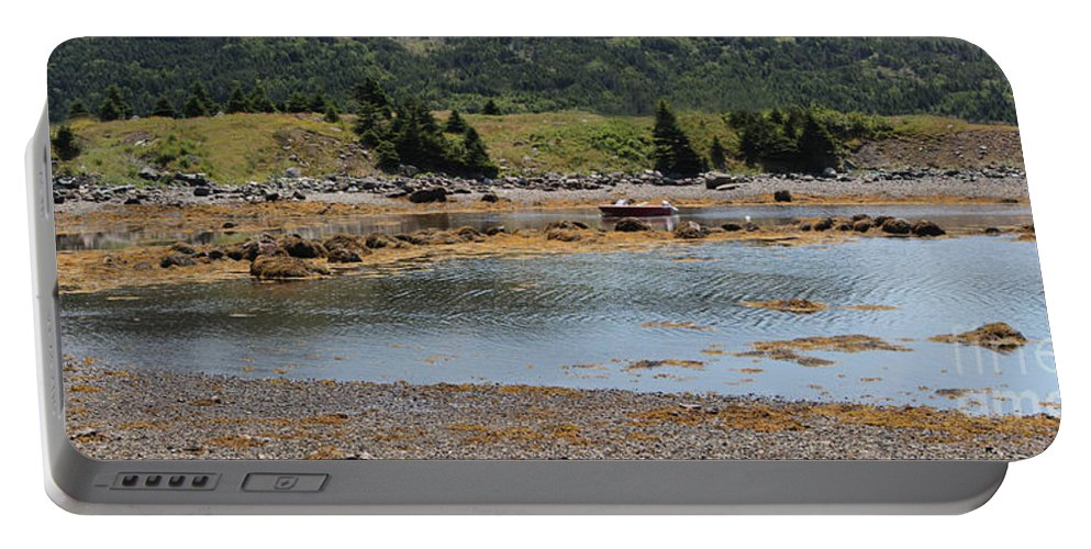 Red Boat Portable Battery Charger featuring the photograph Red Boat by Barbara Griffin