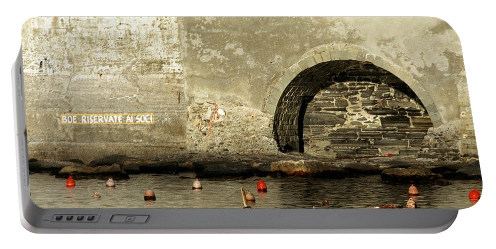 Boat Portable Battery Charger featuring the photograph Red Boat In Vernazza Harbor On The Cinque Terre by Greg Matchick