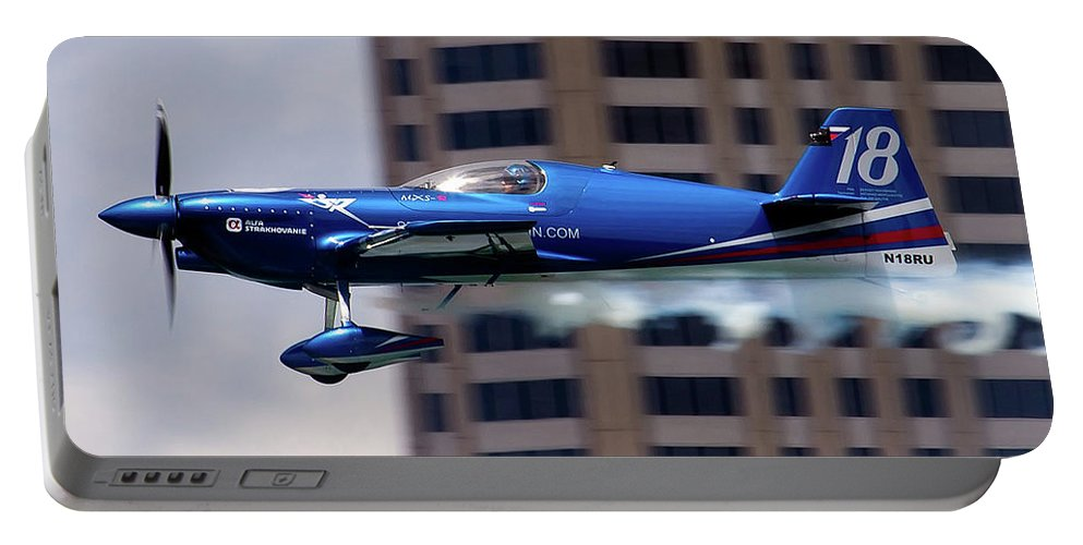 Airshows Portable Battery Charger featuring the photograph Red Bull Racer by Bill Lindsay