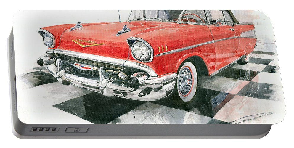 Watercolour Portable Battery Charger featuring the painting Red Chevrolet 1957 by Yuriy Shevchuk