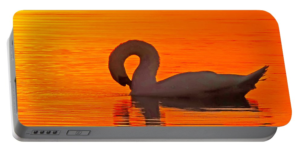 Swans At Dawn Portable Battery Charger featuring the photograph Red Dawn Swan by Randall Branham