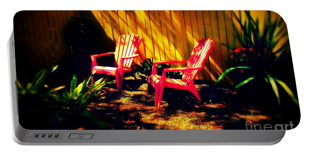 Red Portable Battery Charger featuring the photograph Red Garden Chairs by Susanne Van Hulst