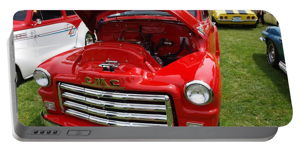 Red Portable Battery Charger featuring the photograph Red Gmc by Teri Schuster