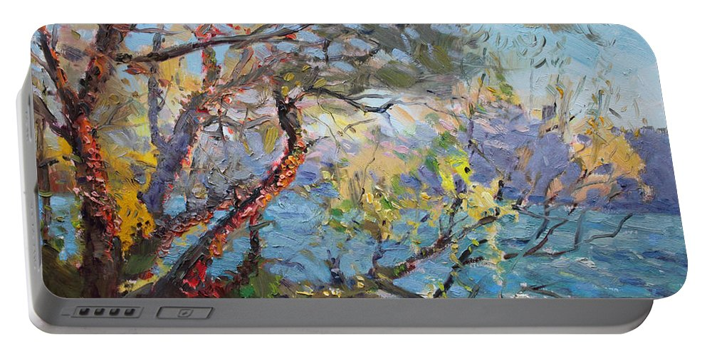 Autumn Portable Battery Charger featuring the painting Red Leaves by Ylli Haruni