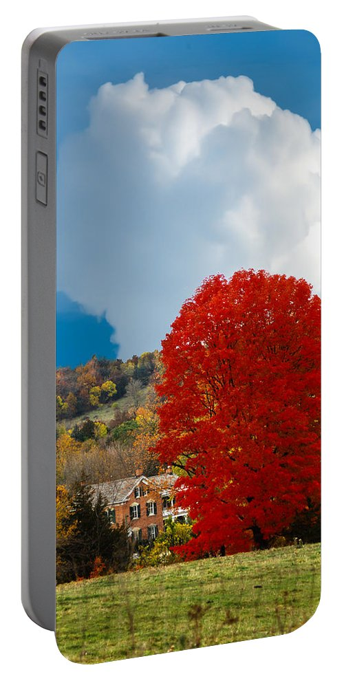 Farm Hose Portable Battery Charger featuring the photograph Red Maple White Cloud by Randall Branham