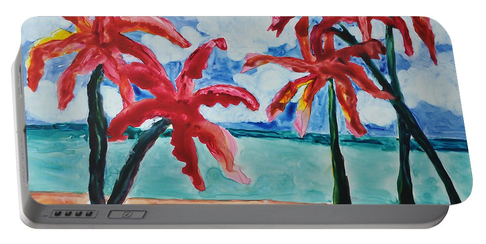 Palms Portable Battery Charger featuring the painting Red Palms by Mickey Krause