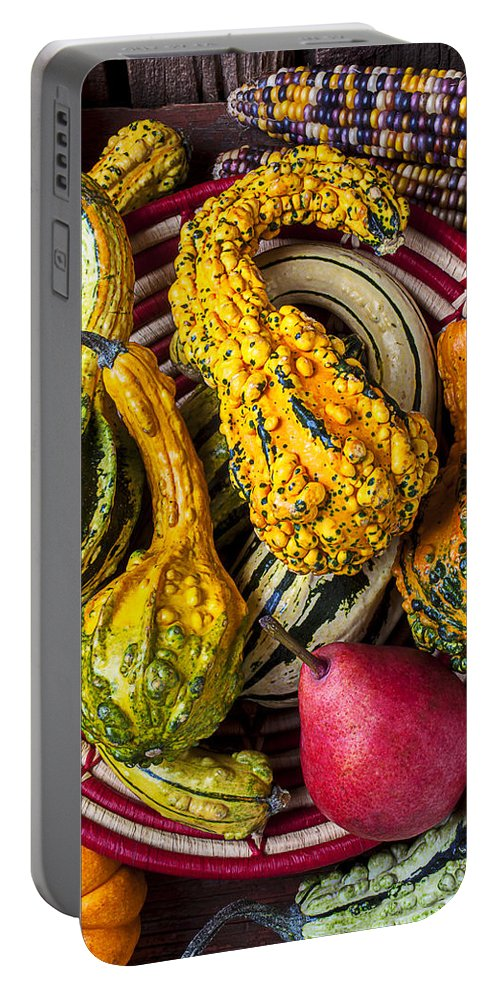 Red Pear Portable Battery Charger featuring the photograph Red Pear And Gourds by Garry Gay