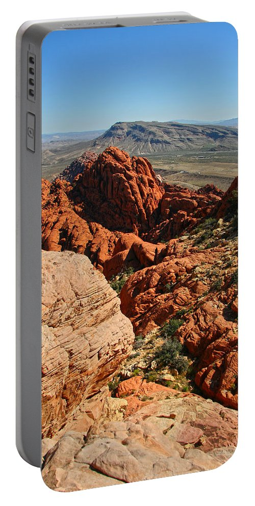 Red Rock Canyon Portable Battery Charger featuring the photograph Red Rock Canyon At The Tank by Chris Brannen