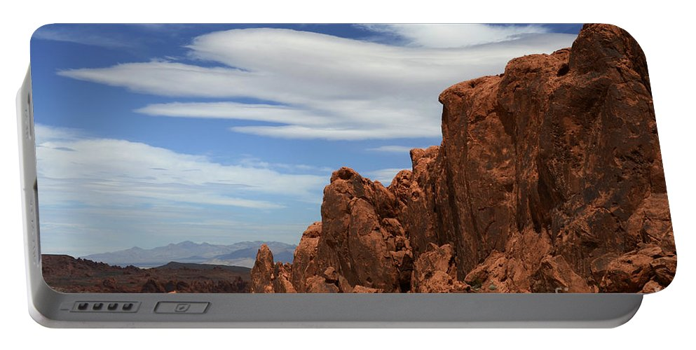 Valley Of Fire Portable Battery Charger featuring the photograph Red Rock Cliffs Valley Of Fire Nevada by Bob Christopher