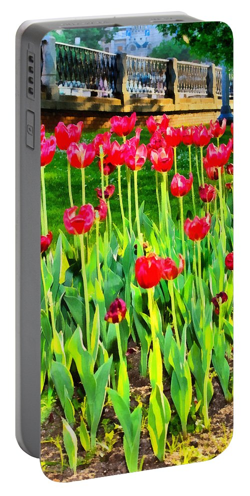 Art Portable Battery Charger featuring the photograph Red Tulips by Michael Goyberg