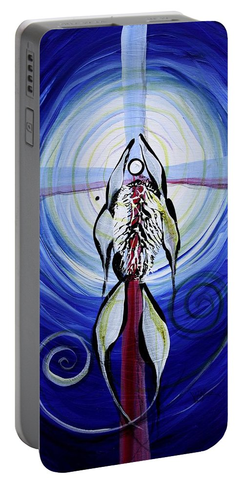 Fish Portable Battery Charger featuring the painting Reflection Of Faith 17 Before by J Vincent Scarpace